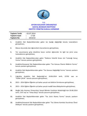 02.07.2014 Tarih ve 2014-22 Sayılı Karar