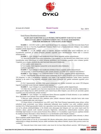 Akaryakıt harici Petrol ürünleri için EPDK uygunluk yazısı sadece