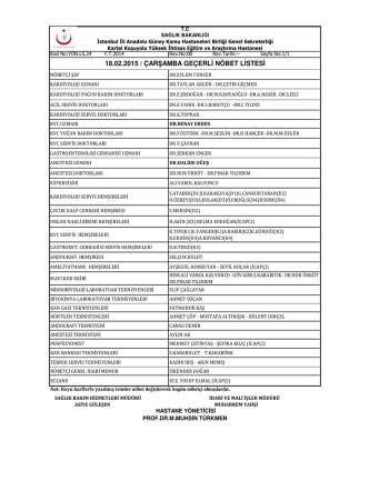 18.02.2015 / çarşamba geçerli nöbet listesi