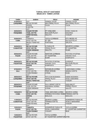 Aylık Yemek Listesi - Turhal Devlet Hastanesi