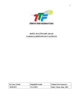 2014 TTF Doğu Kulüpleri Takım Şampiyonası Talimatı