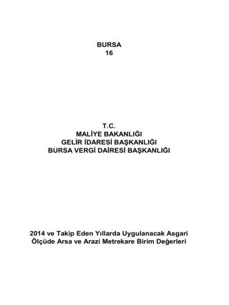 Arsa M² Birim Değerleri - Bursa Vergi Dairesi Başkanlığı
