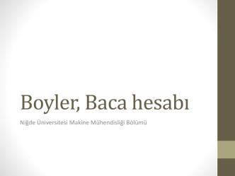 Boyler, Baca hesabı - Makine Mühendisliği Bölümü
