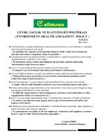 Çevre Sağlık ve İş Güvenliği Politikası