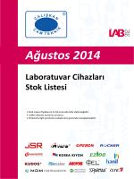 Ağustos 2014 Laboratuvar Cihazları Stok Listesi
