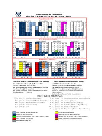 2014-2015 Akademik Takvim İndir