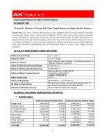 Ulusoy Un Sanayi ve Ticaret A.Ş. Fiyat Tespit Raporuna