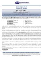 JCR - Eurasia Rating Kredi Derecelendirme Notu