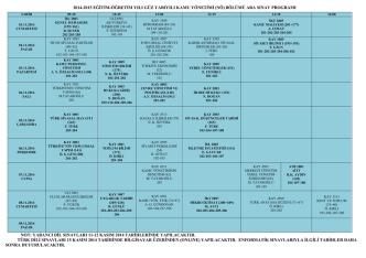 2014-2015 Eğitim-Öğretim Yılı Güz Yarıyılı Ara Sınav Programı