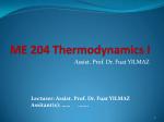 ME 204 Thermodynamics I