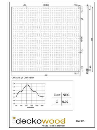 Deckowood – P3-ø8mm - Deckon Asma Tavan Sistemleri