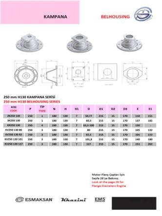 250 mm H130 KAMPANA SERİSİ 250 mm H130