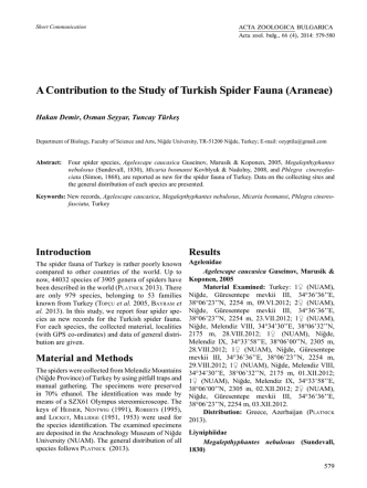 A Contribution to the Study of Turkish Spider Fauna (Araneae)