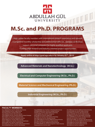 agu afiş-2015 ocak - Master of Science and Ph.D. Programs