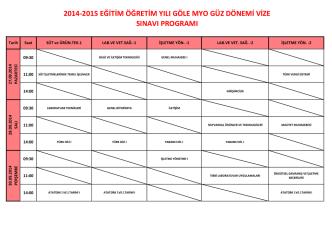 2014-2015 eğitim öğretim yılı göle myo güz dönemi vize sınavı