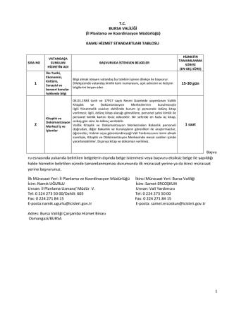 1 T.C. BURSA VALİLİĞİ (İl Planlama ve Koordinasyon Müdürlüğü