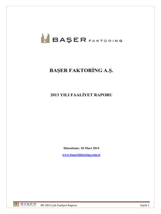 Başer Faktoring A.Ş. 2013 Yılı Faaliyet Raporu