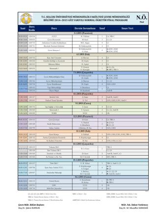 Çevre Mühendisliği N.Ö 2014-2015 Güz Dönemi Final Sınav Programı
