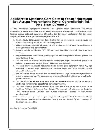 batı avrupa programı tek ders sınav duyuru 2014