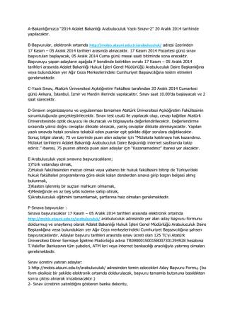 """A-Bakanlığımızca """"2014 Adalet Bakanlığı Arabuluculuk Yazılı Sınavı-2"""""""