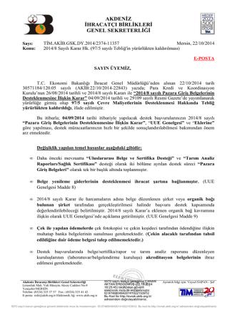 2014/8 Sayılı Karar Hk. - Akdeniz İhracatçı Birlikleri