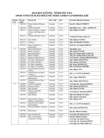 2014-2015 Öğretim Yılı Güz Yarıyılı Spor Yöneticiliği Bölümü Ders