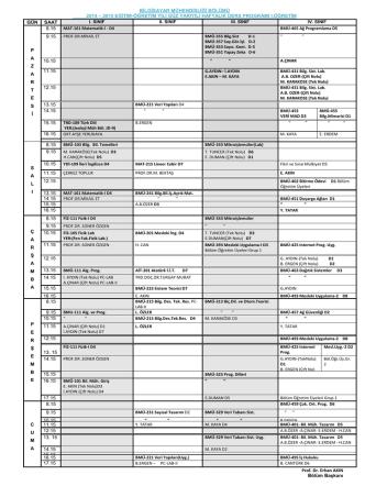 1. Öğretim Ders Programı (Güncellendi-26.09.2014)