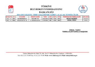 2014-2015 sezonu tbhf liglerinde görev alacak temsilciler türkiye