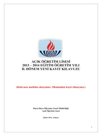 2013-2014 II. Dönem Yeni Kayıt