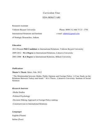 Curriculum Vitae EDA BEKCİ ARI - Yıldırım Beyazıt Üniversitesi