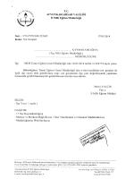 Müdürlüğümüzün konu ile ilgili 17/01/2014 tarih ve 252685 sayılı