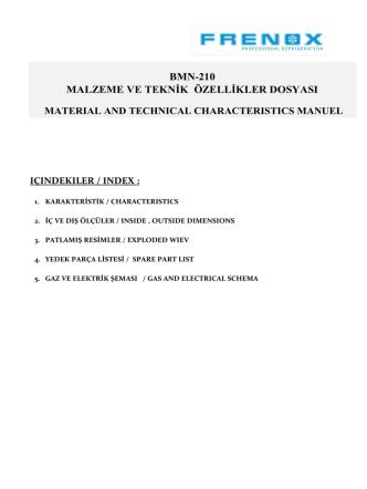 BMN-210 MALZEME VE TEKNİK ÖZELLİKLER DOSYASI
