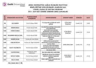 2013-2014 güz dönemi seminer dersi sunumları