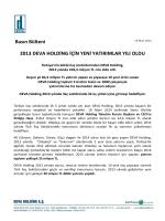 2013 DEVA HOLDİNG İÇİN YENİ YATIRIMLAR YILI OLDU Basın
