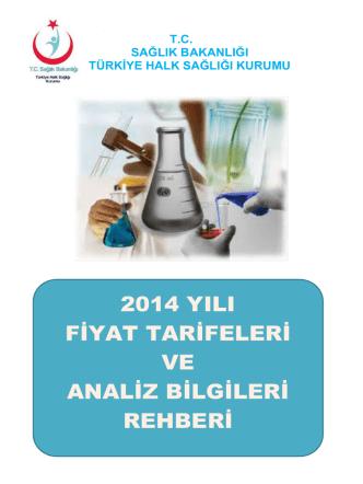 2014 Yılı Analiz Fiyat Kitapçığı - İstanbul Halk Sağlığı Müdürlüğü
