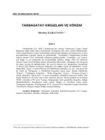 tarbagatay kırgızları ve kökeni - sibirya araştırmaları dergisi