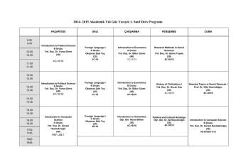 2014- 2015 Akademik Yılı Güz Yarıyılı 1. Sınıf Ders Programı