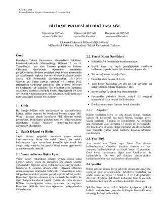 Bölüm Makale yazım formatı - KTÜ Elektrik
