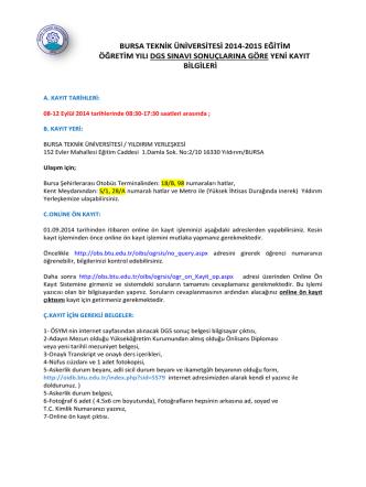 bursa teknik üniversitesi 2014-2015 eğitim öğretim yılı dgs sınavı