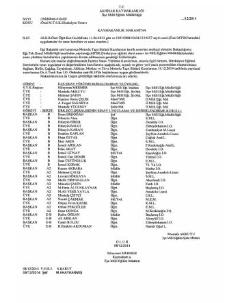 14 Aralık 2014 MTSK Görev Listesi