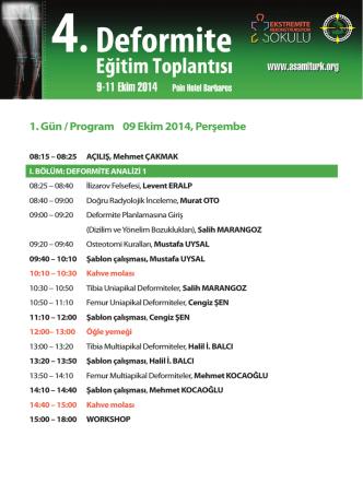 1. Gün / Program 09 Ekim 2014, Perşembe