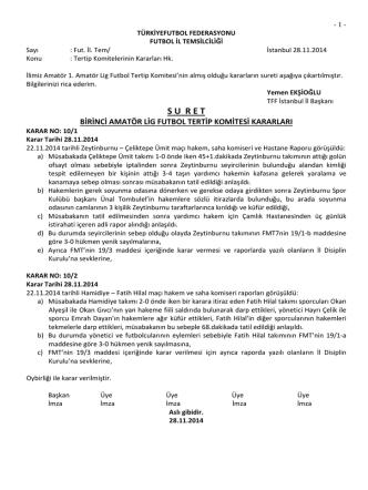1.a.l. tertip komitesi kararı - T.F.F. İstanbul İl Başkanlığı