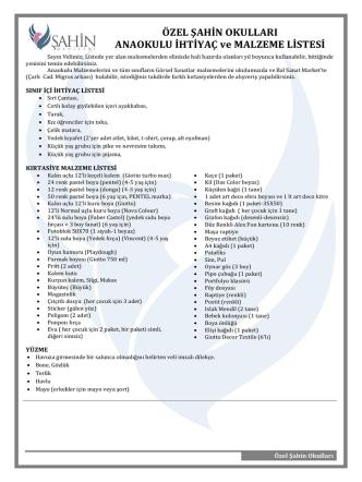 Anaokulu İhtiyaç Listesi