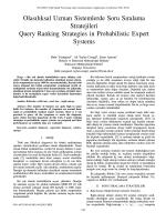 Olasılıksal Uzman Sistemlerde Soru Sıralama Stratejileri Query