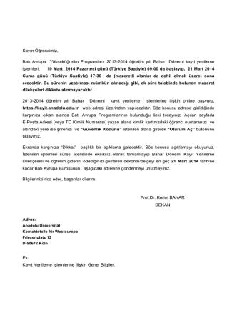 bahar kay.yen. genel bil. - Anadolu Üniversitesi Batı Avrupa Bürosu.