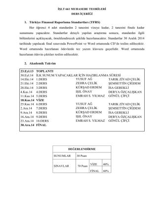1. Türkiye Finansal Raporlama Standartları (TFRS) Her öğrenci 4
