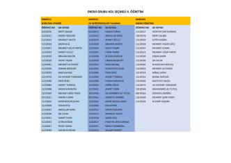 2014-2015 Kol Seçmeli Ders Listesi