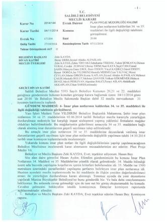 2014/144 imar plan notlarının kaldırılan 34. ve 35