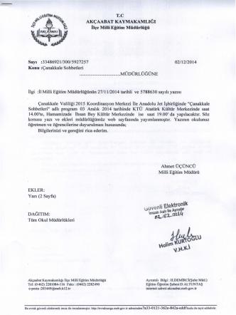 Çanakkale Sohbetleri 02112/2014 - Akçaabat İlçe Milli Eğitim