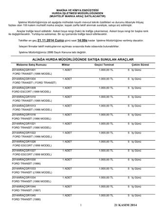 21 kasım 2014 araç satış ihale listesi